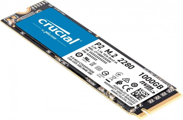 Crucial P2 1TB, 2400MB/s read, 1900MB/s write (3D NAND, NVMe, PCIe, M.2) CT1000P2SSD8